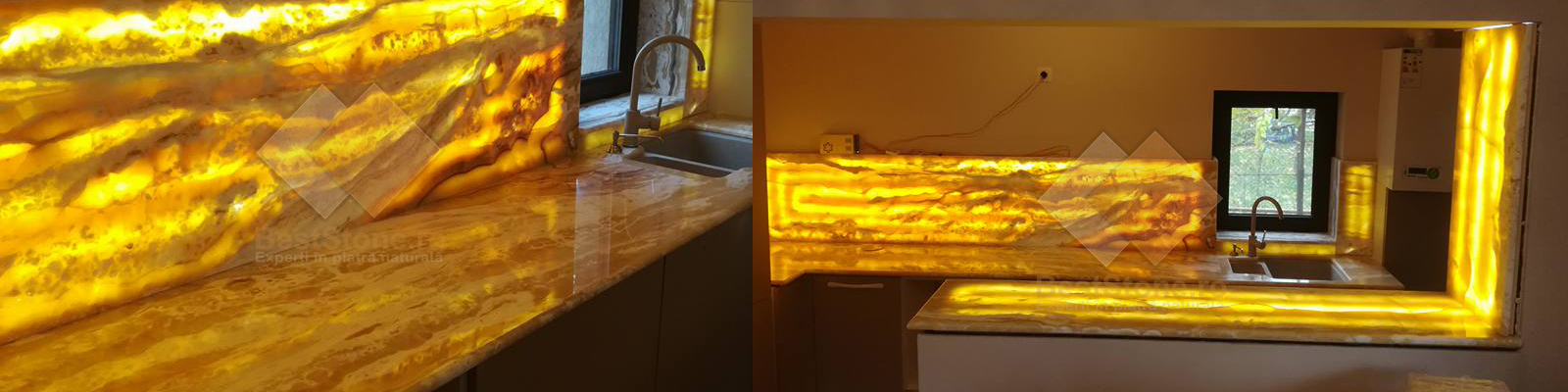 Blaturi din ONIX iluminate cu led.